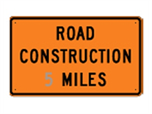 Picture of Road Construction * Miles Sign (G20-1*35)